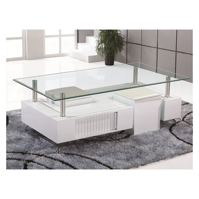 Sofamobili Table basse blanc laqué design Penelope
