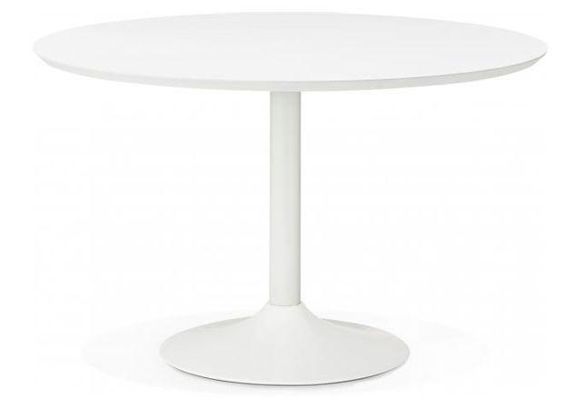 Declikdeco - Table à Manger Ronde Blanche Pied Blanc D120 Barnet ...