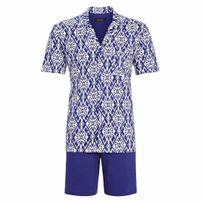 Ringella - Pyjama court : Veste boutonnée manches courtes bleu roi à motifs blancs et short uni bleu roi