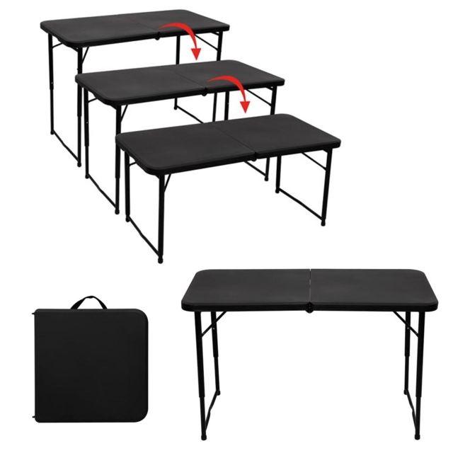 toolland table pliante interieur exterieur hauteur reglable noir pas cher achat vente. Black Bedroom Furniture Sets. Home Design Ideas