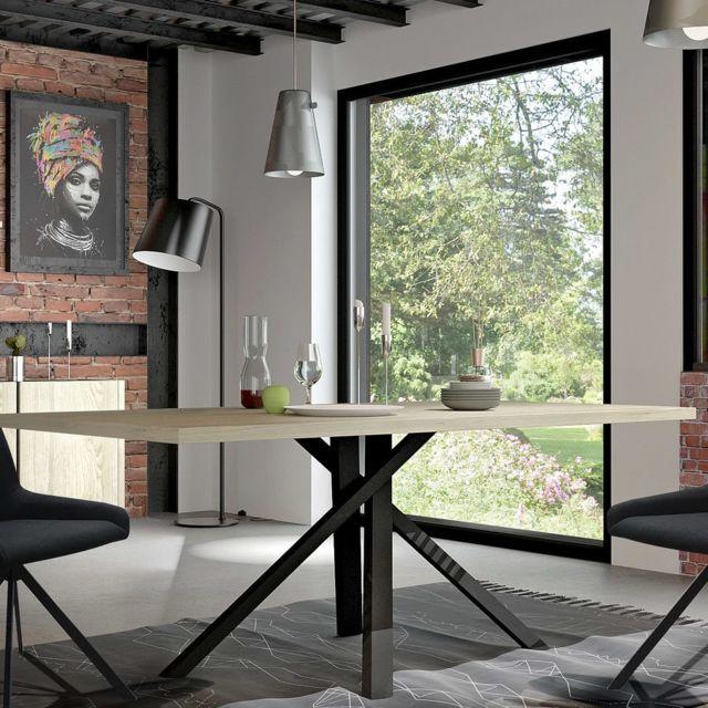 Kasalinea Table industrielle couleur bois et effet béton Jeffrey