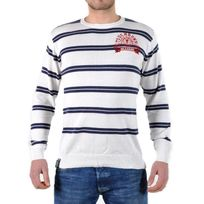 Beandbe Touchdown - Pull Be And Be Touchdown à Rayures Blanc / Navy / Rouge