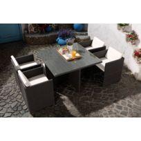 Magnifique Salon de jardin Florida 4 Gris/Blanc : salon encastrable 4 personnes en résine tressée grise poly rotin