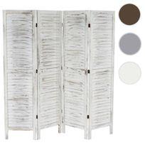 Mendler - Paravent / s?paration bois, 4 pans, 182x2x170cm, shabby, vintage, blanc