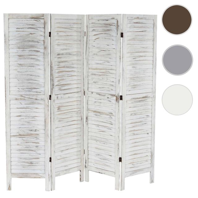 mendler paravent s paration bois 4 pans 182x2x170cm shabby vintage blanc pas cher. Black Bedroom Furniture Sets. Home Design Ideas
