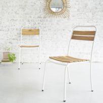 Lot de 2 chaises en bois d\'acacia Fsc et métal