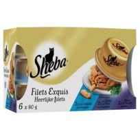 Sheba - Pâtées Filets Exquis aux Viandes et Poissons pour Chat - 6x80g