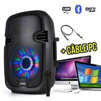 "Party Sound - Enceinte batterie karaoké 8""/20cm 300W à Led Rvb - Fm/USB/SD/BLUETOOTH + Micro + Câble Pc"