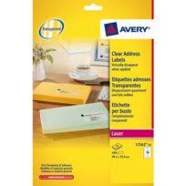 Avery - Etiquettes adresses laser 99,1 x 33,9 mm L7562-25 transparentes - Pochette de 400