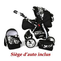 Kunert - Poussette / Landau combiné 3en1 multifonctions avec équipement bébé enfant 0-36m Roues en mousse Volver | Noire - Fleurs blanches