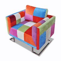 Rocambolesk - Superbe Fauteuil patchwork avec pieds chromées neuf