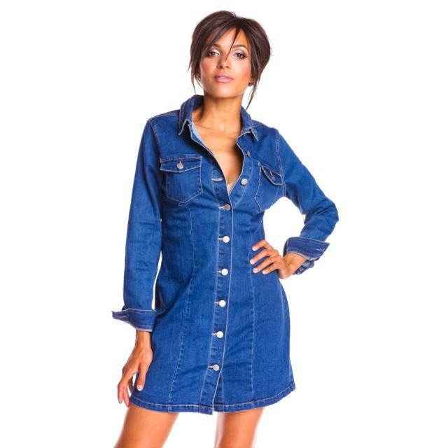 Doucel Robe chemise en jean boutonnée de haut en bas Taille Femme - 38, Couleur - bleu jean