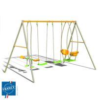 - Portique métal 2,20 m avec balançoires, face à face et nacelle pour 6 enfants
