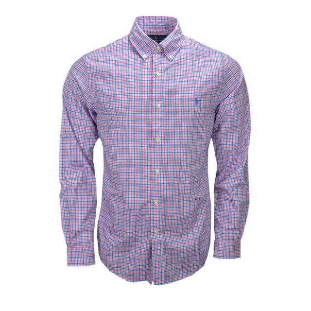 6183e9337438 Ralph Lauren - Chemise Ralph Lauren slim fit à carreaux rose et bleu pour  homme