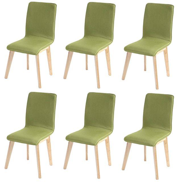 Mendler 6x chaise de salle à manger Zadar, fauteuil, design rétro des années 50, tissu ~ vert avec couture