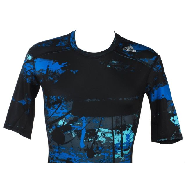 Adidas Tee shirt de compression Tf base ss navy mc Bleu