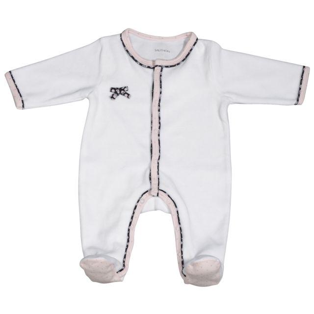 Sauthon - Pyjama bébé blanc naissance Miss Chipie - pas cher Achat   Vente  Pyjamas 3dd461815b1