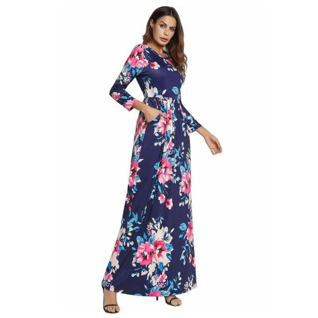 72115ea4a01 Wewoo - Robe Femme bleu foncé 2018 Nouvelles femmes Western Style Sexy  manches huit impression motif