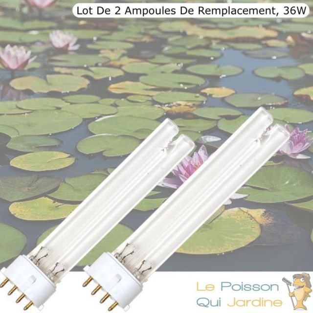Le Poisson Qui Jardine Lot De 2 Ampoules Uvc De Rechange, 36W, Pour Aquarium, Bassins De Jardin