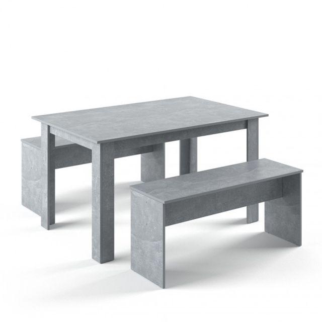 Mpc Table Avec 2 Bancs Aspect Béton Blanc 1cm X 1cm X 1cm Pas