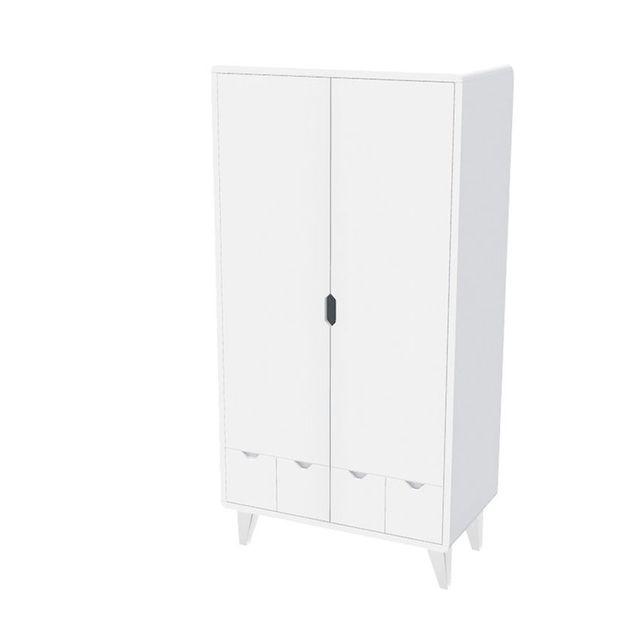 Noukie 39 s armoire 2 portes pieds blancs mont blanc sebpeche31 for Porte patio 8 pieds