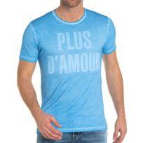 French Kick - Tee-shirt bleu teinté slogan amour