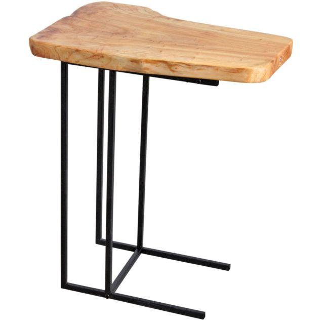 AUBRY GASPARD Table d'appoint en bois brut et métal noir