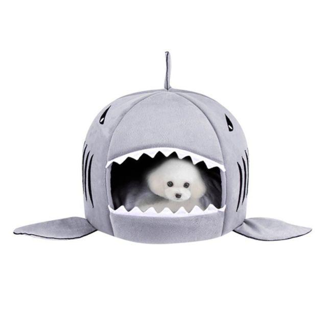 Wewoo Chien de compagnie d'intérieur chiot gris chat maison chaude requins animaux lit de couchage nid, taille s: 42x42x42cm