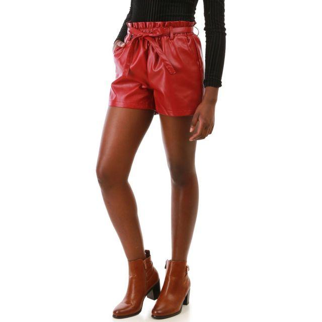 famous brand hot product good service Lamodeuse - Short bordeaux en simili cuir avec ceinture ...