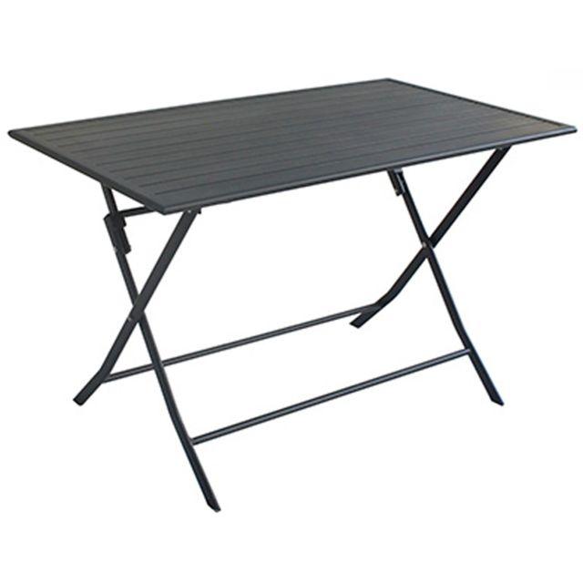 PEGANE - Table de jardin pliante en aluminium coloris gris foncé mat ...