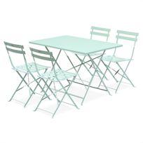 Salon de jardin bistrot pliable Emilia rectangulaire vert d'eau, table 110x70cm avec quatre chaises pliantes, acier thermolaqué, chaises avec lames incurvées pour plus de confort