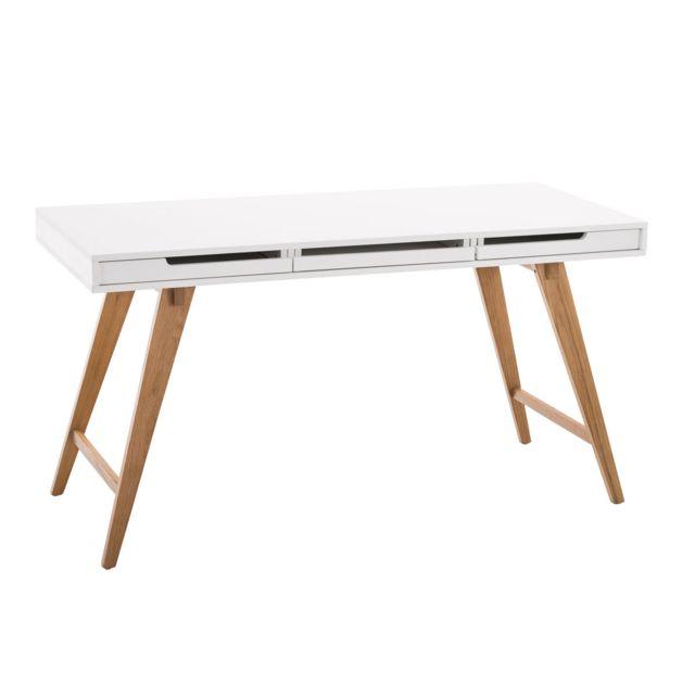 La Chaiserie Bureau 140cm design moderne Blanc 3 tiroirs Pedro