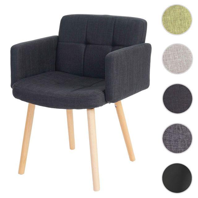 mendler chaise de sjour orlando ii style rtro tissu gris fonc - Chaise Sejour