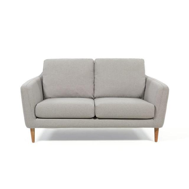 AXE DESIGN Canapé scandinave en tissu avec pieds bois HEJ - Gris clair - 2 places