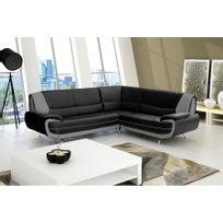 Chloe Design - Canapé d'angle moderne jana - Angle droit - noir et gris