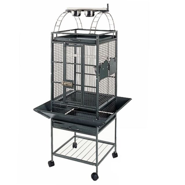 Strong Cage pour perroquet Villa Helios Gris métallisé 46x46x149 cm
