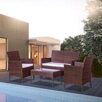 Concept Usine - Mykonos marron et blanc : salon de jardin en résine tressée