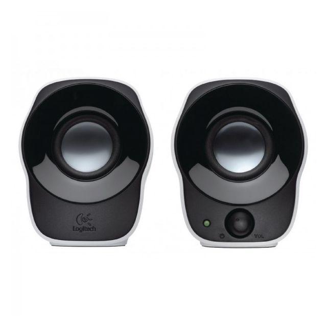 Logitech Z120 Haut parleur stéréo Z120 s 1.2 W • Puissance totale en watts (RMS): 1,2 watts• Connexion Usb câblée (pour l'alimentation): 1• Connexion 3,5 mm câblée (pour le son): 1• Commandes: alimentation et volume sur le haut-parleur droit