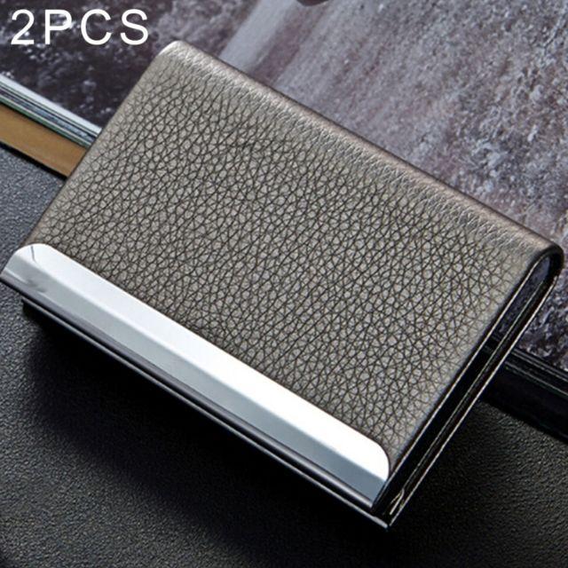 Wewoo - Porte-cartes gris 2 Pcs Lichi texture