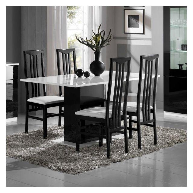 Dansmamaison Table de repas laquée Blanc/Noir - Zeme - L 160 x l 90 x H 77 cm