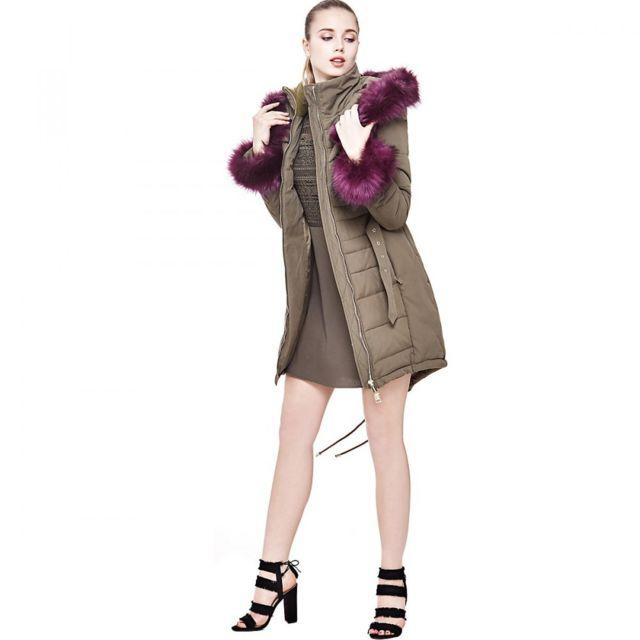 bcd73576ef4 Guess - Guess Doudoune Femme Sunny Long Kaki. Couleur   Vert. Taille   XS