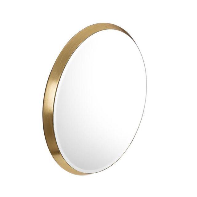 Tousmesmeubles Miroir ovale Bois doré taille S N°1 - Bebop