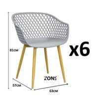 Zons - Tango Lot de 6 Fauteuil chaise salle a manger en métal avec assise en Pp Gris 57x63xH81cm