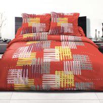 Home Deco - Parure de couette 220X240 polycoton Corail