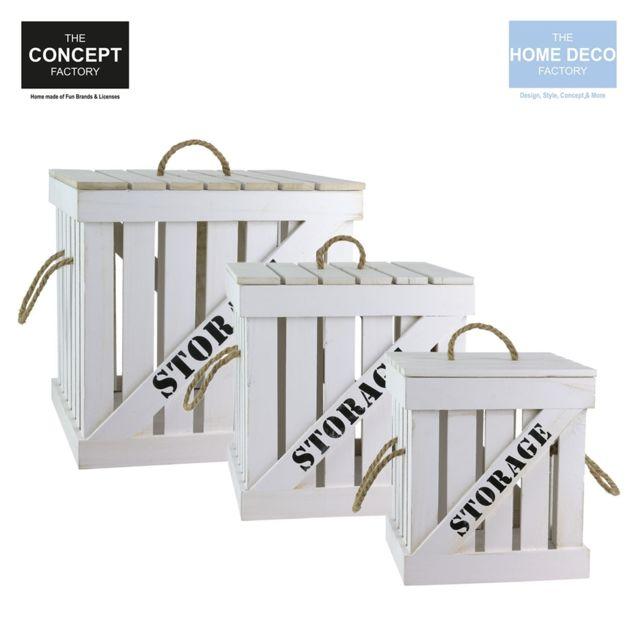 The Concept Factory Ensemble de 3 cagettes cargo gigognes blancs