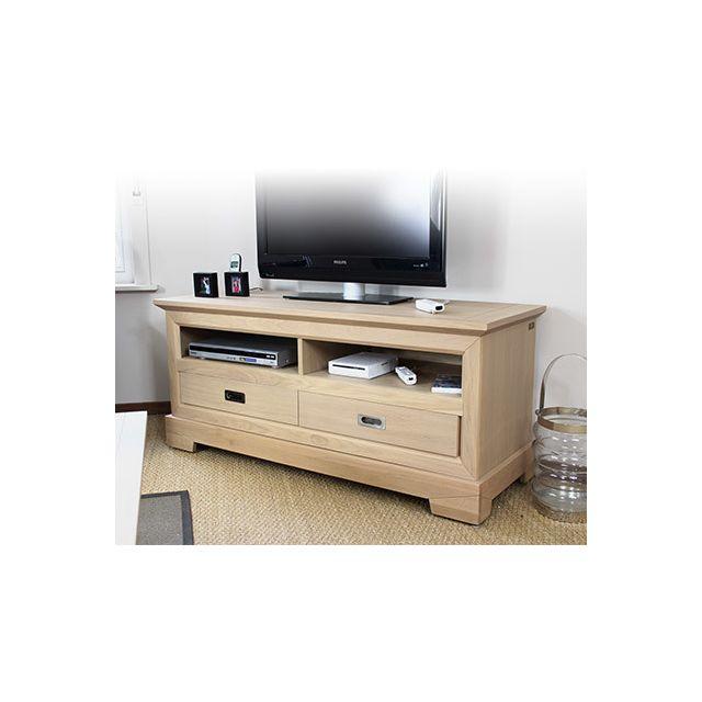 Meuble Tv bas 2 tiroirs en chêne couleur amande