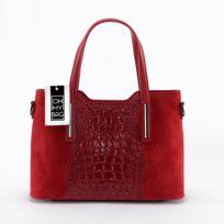 Oh My Bag - Sac à Main cuir Nubuck et effet croco - Modèle Assop rouge clair