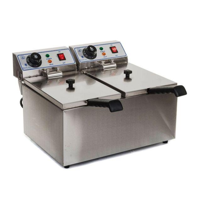 Autre Friteuse acier inox 2 bacs 8 litres cuve amovible professionnelle 3614017