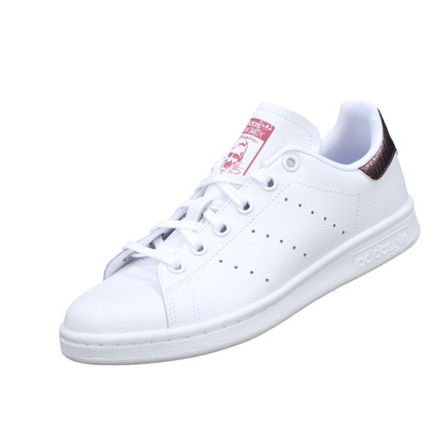 Adidas Stan Smith J B37186 Blanc Bordeau pas cher