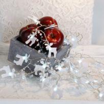 Xmas Living Glass - Felt Elk - Guirlande Elan feutrine Blanc Led 2,25m - Guirlande et objet lumineux designé par